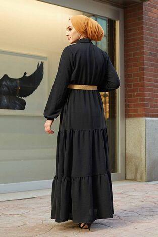 Hasır Kemerli Aerobin Elbise 180SB-9011 Siyah - Thumbnail