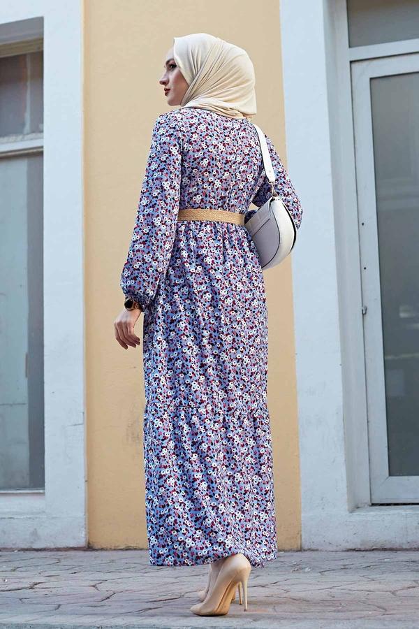 Hasır Kemerli Çıtır Desen Elbise 100MD4999 Bebe Mavisi