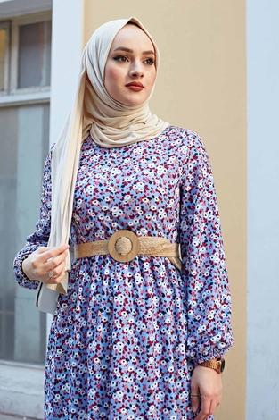 Hasır Kemerli Çıtır Desen Elbise 100MD4999 Bebe Mavisi - Thumbnail