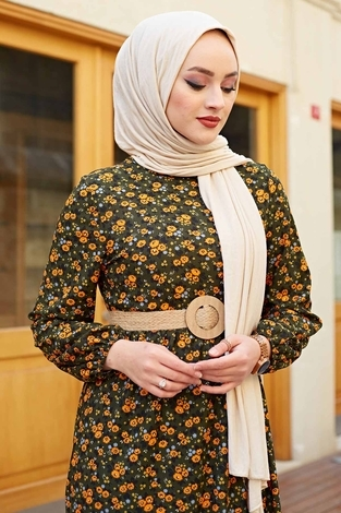 Hasır Kemerli Çıtır Desen Elbise 100MD4999 Haki - Thumbnail