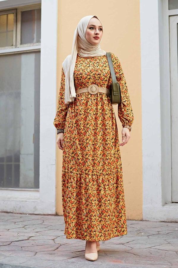 Hasır Kemerli Çıtır Desen Elbise 100MD4999 Hardal