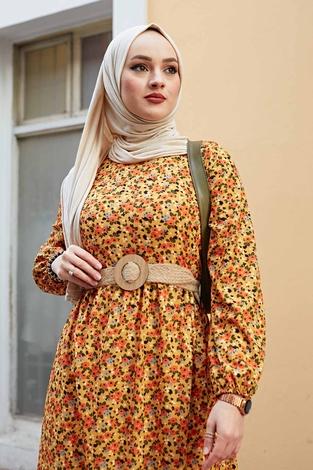 Hasır Kemerli Çıtır Desen Elbise 100MD4999 Hardal - Thumbnail