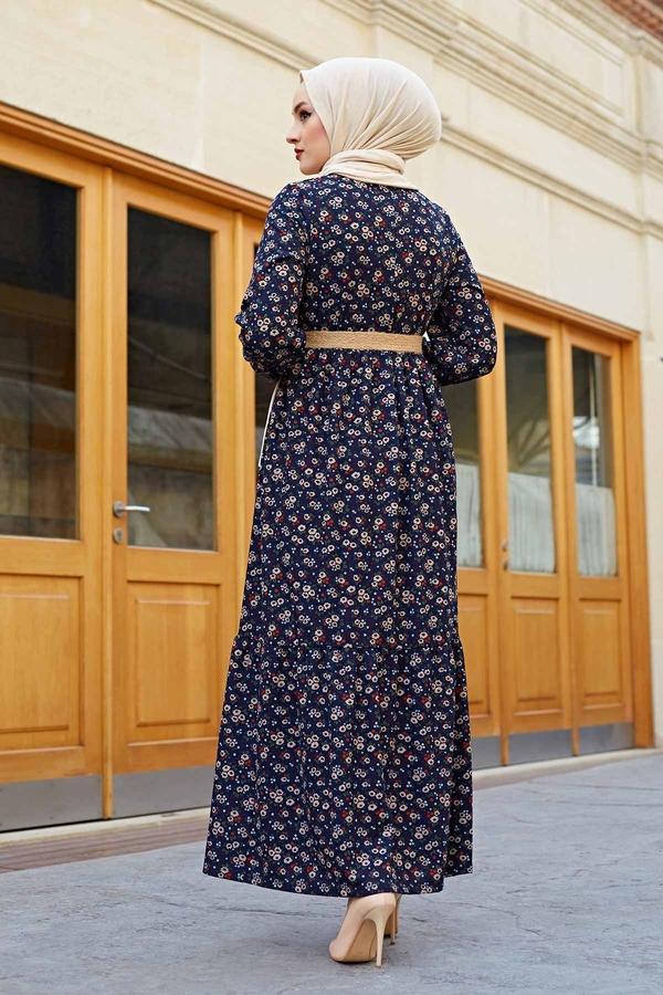 Hasır Kemerli Çıtır Desen Elbise 100MD4999 Lacivert