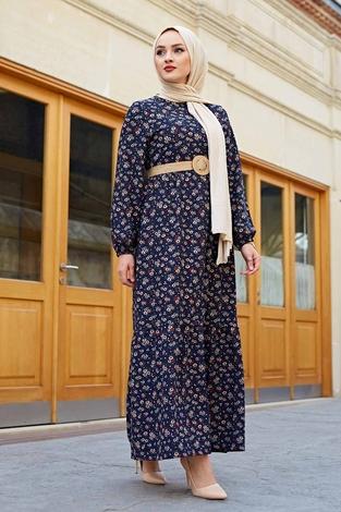 Hasır Kemerli Çıtır Desen Elbise 100MD4999 Lacivert - Thumbnail