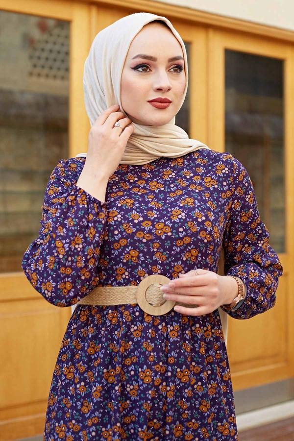 Hasır Kemerli Çıtır Desen Elbise 100MD4999 Mor