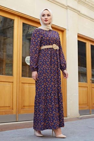 Hasır Kemerli Çıtır Desen Elbise 100MD4999 Mor - Thumbnail