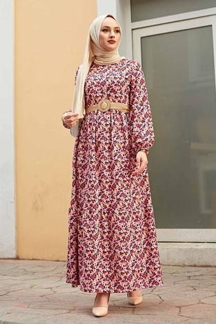 Hasır Kemerli Çıtır Desen Elbise 100MD4999 Pudra - Thumbnail