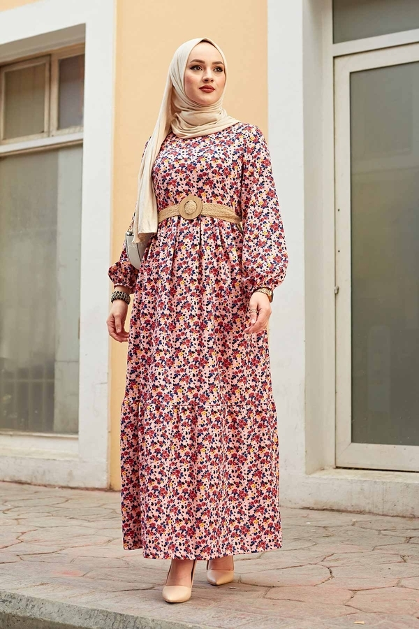 Hasır Kemerli Çıtır Desen Elbise 100MD4999 Pudra