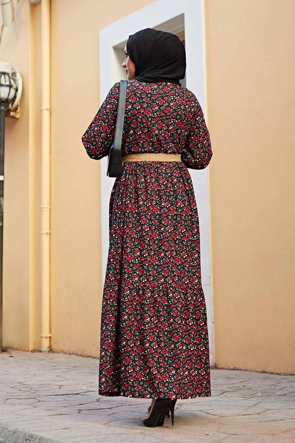 Hasır Kemerli Çıtır Desen Elbise 100MD4999 Siyah