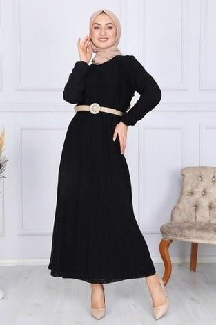 SBH Hasır Kemerli Dantel Elbise 7229-16 - Thumbnail