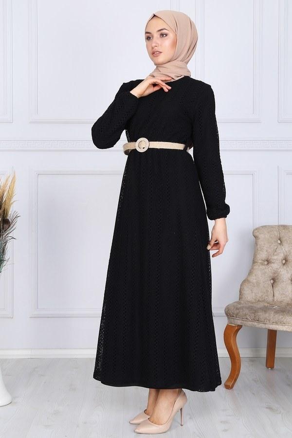 Hasır Kemerli Dantel Elbise 7229-16