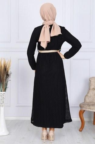 Hasır Kemerli Dantel Elbise 7229-16 - Thumbnail