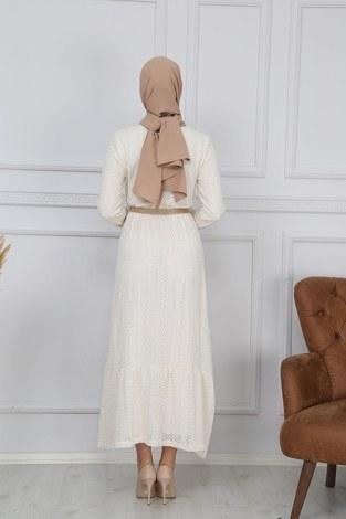 SBH Hasır Kemerli Dantel Elbise 7229-2 - Thumbnail