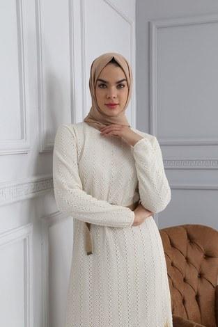 - Hasır Kemerli Dantel Elbise 7229-2 (1)