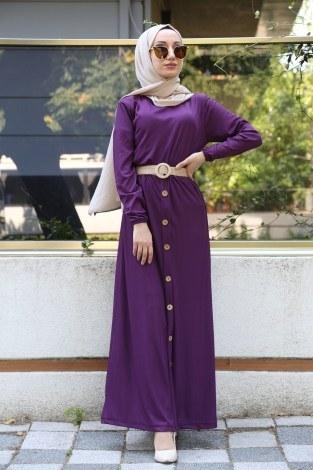 - Hasır Kemerli Elbise 5591-13