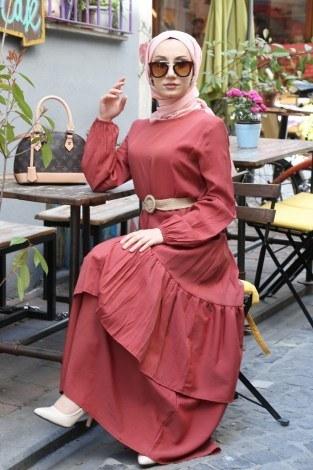- Hasır Kemerli Elbise 2563-02
