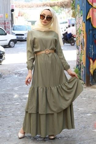 - Hasır Kemerli Elbise 2563-03