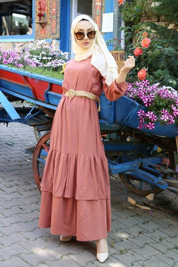 Hasır Kemerli Elbise 2563-04