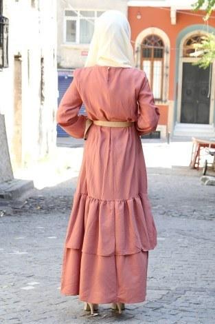 Hasır Kemerli Elbise 2563-04 - Thumbnail