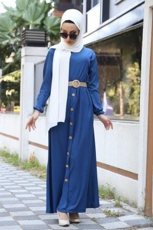 - Hasır Kemerli Elbise 5591-08