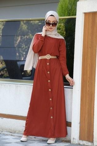 - Hasır Kemerli Elbise 5591-16