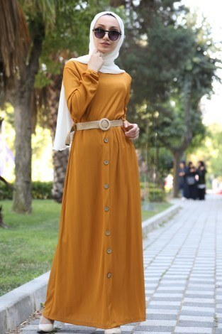 - Hasır Kemerli Elbise 5591-10