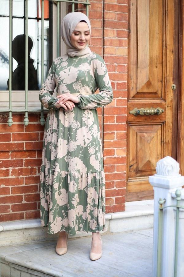 Hasır Kemerli Elbise 8831-1