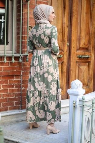 Hasır Kemerli Elbise 8831-1 - Thumbnail
