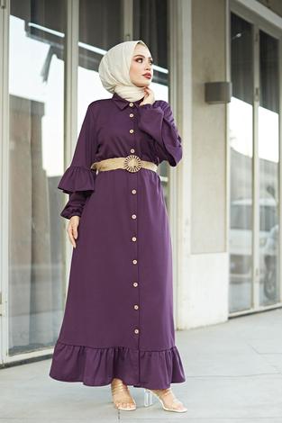 - Hasır Kemerli Fırfırlı Elbise 7119-11 Mor