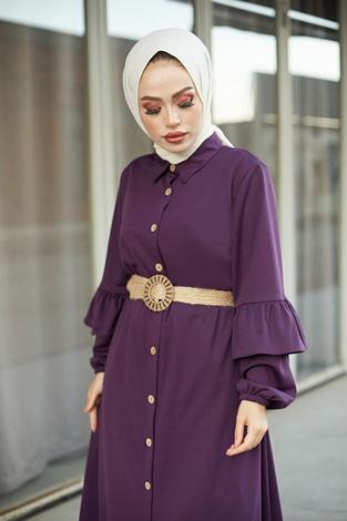 - Hasır Kemerli Fırfırlı Elbise 7119-11 Mor (1)