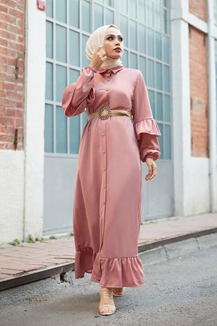 - Hasır Kemerli Fırfırlı Elbise 7119-12 Pudra