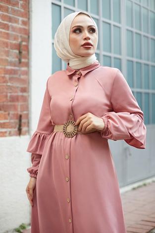 - Hasır Kemerli Fırfırlı Elbise 7119-12 Pudra (1)
