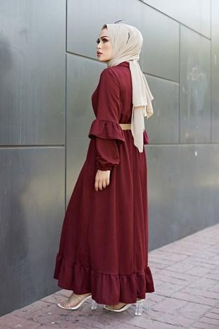 - Hasır Kemerli Fırfırlı Elbise 7119-010 (1)