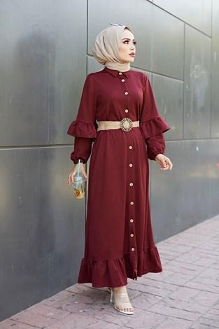 - Hasır Kemerli Fırfırlı Elbise 7119-010