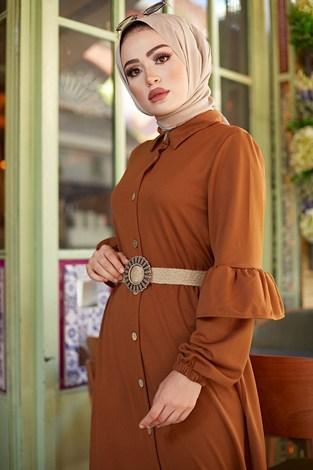 - Hasır Kemerli Fırfırlı Elbise 7119-09 (1)