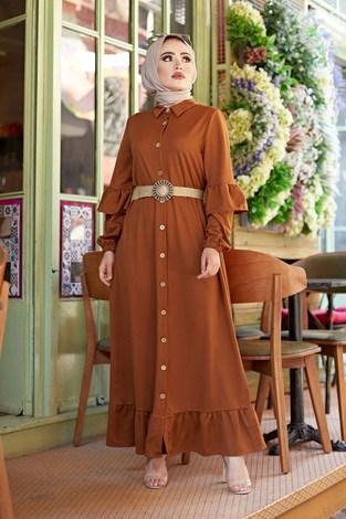 - Hasır Kemerli Fırfırlı Elbise 7119-09