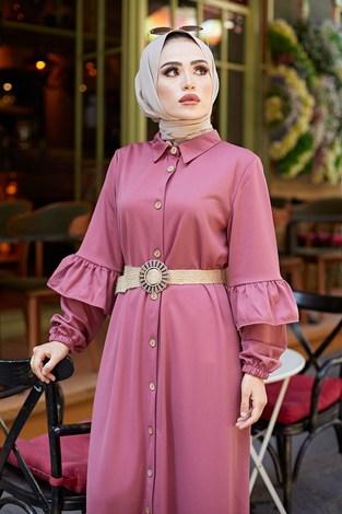 - Hasır Kemerli Fırfırlı Elbise 7119-08 (1)