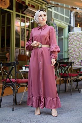 - Hasır Kemerli Fırfırlı Elbise 7119-08