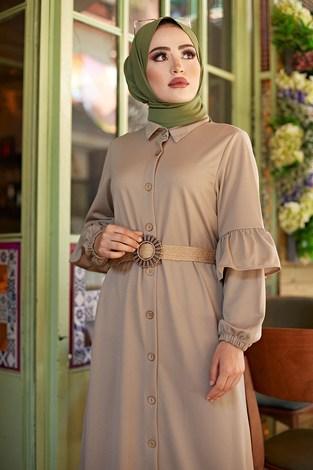 - Hasır Kemerli Fırfırlı Elbise 7119-07 (1)