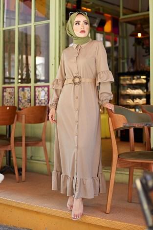 - Hasır Kemerli Fırfırlı Elbise 7119-07