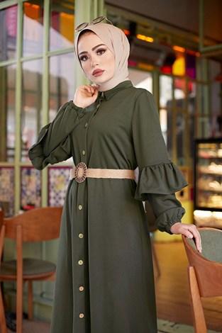 - Hasır Kemerli Fırfırlı Elbise 7119-06 (1)