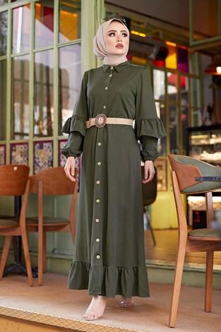 - Hasır Kemerli Fırfırlı Elbise 7119-06