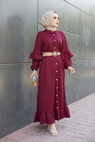 - Hasır Kemerli Fırfırlı Elbise 7119-05