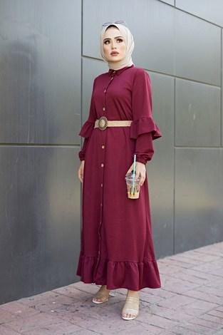 - Hasır Kemerli Fırfırlı Elbise 7119-05 (1)