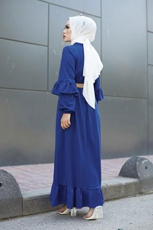 - Hasır Kemerli Fırfırlı Elbise 7119-04 (1)
