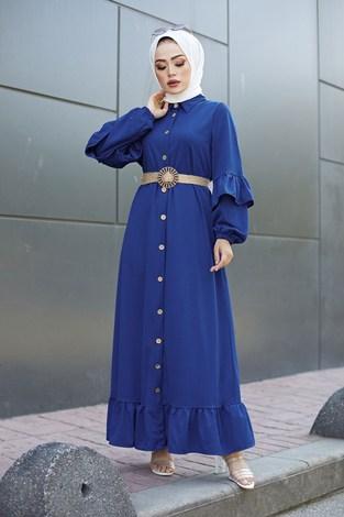 - Hasır Kemerli Fırfırlı Elbise 7119-04