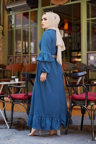 - Hasır Kemerli Fırfırlı Elbise 7119-03 (1)