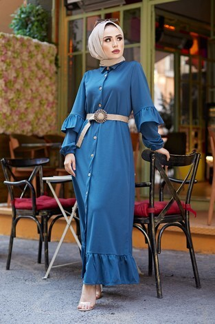 - Hasır Kemerli Fırfırlı Elbise 7119-03