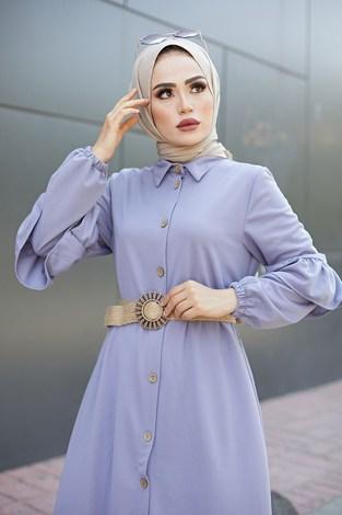 - Hasır Kemerli Fırfırlı Elbise 7119-02 (1)