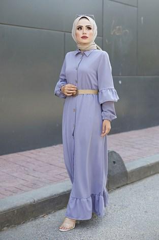 - Hasır Kemerli Fırfırlı Elbise 7119-02